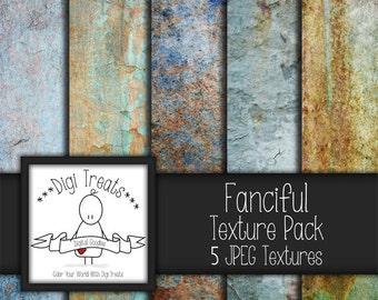 "5 Digital Textures, Fanciful Textures, JPEG, Photography Textures, Scrapbook Paper, Backgrounds, 12""x12"" *Instant Download*"