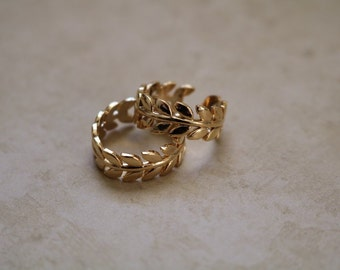 Gold Leaf Crown Ring - Gold Plated Ring - Layering Ring - Stacking Ring - Adjustable Ring - Gold Ring