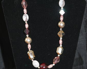 Pink, Burgundy, Silver and Grey Necklace