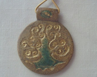 Hand Carved Stoneware Tree of Life Pendant gold adjustable leather cord