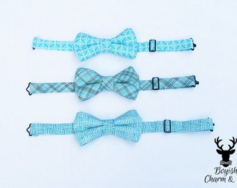 Boys Blue Bow Tie, Boys Blue Plaid Bow Tie, Newborn Bow Tie, Toddler Blue Bow Tie, Easter Bow Tie, Boys Formal Wear, 1st Birthday Outfit