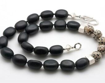 Black Onyx Necklace, Dalmatian Jasper Bold Necklace, Architectural & Minimalist Necklace, Statement Necklace, Unique Necklace Gift for Her