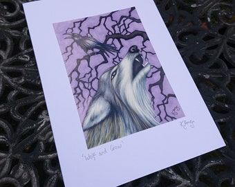 Wolf and Crow Greeting Card - corvid, howling wolf, scavengers, tree silhouette, art, illustration, animals, predator, wildlife, lilac