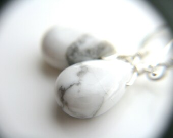 White Howlite Earrings . White Earrings . White Teardrop Earrings . Sterling Silver Wire Wrapped White Stone Earrings