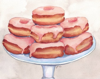 Donuts Art - 11x14 Print Pink Donut Painting - Watercolor Painting - Doughnuts Food Illustration - 11x14 Print