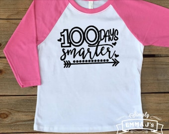 100 days smarter, youth shirt, 100 Days of Awesome, 100 days of school, 100th day of school, gift idea