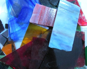 10 Pound Box Stained Glass Scrap Assorted Lot Different Colors Large Small Pieces Opaque Transparent Mosaic Glass Jewelry Supplies (Y124)