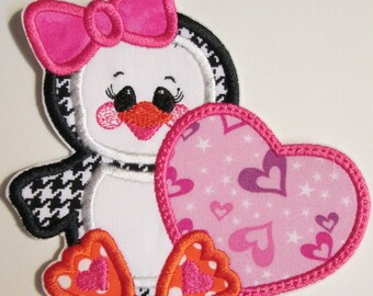 Iron On Applique - Penguin Love for Valentine Day