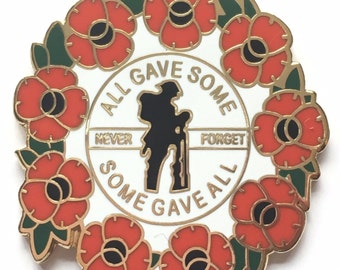 Never Forget Lest We Forget Remembrance Poppy Commemorative Enamel Lapel Pin Badge