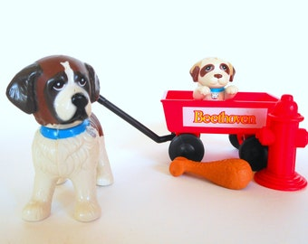 Vintage Littlest Pet Shop Beethoven Pups and Red Wagon Playset by Kenner