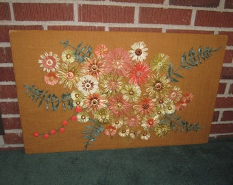 Vintage 1960s Large 30x18 Straw Flower Art Collage Wall Decor on Hanging Board