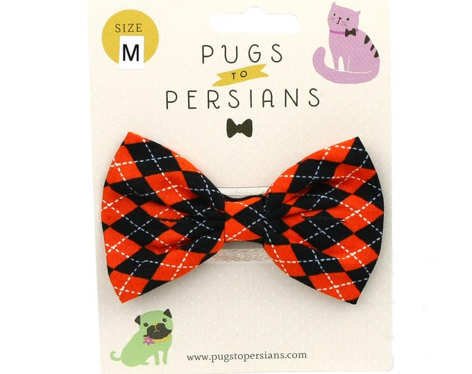 Halloween Dog Bowtie - Orange and Black Argyle - XS Small Medium Large XL