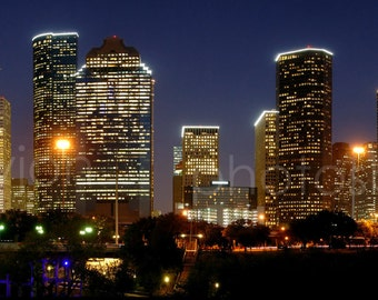 CANVAS Houston Skyline at NIGHT Panoramic Print Panorama Photo Picture