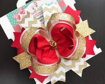 Gold red white christmas hair bow- Christmas red and gold hair bow- red white gold hair bow- OTT boutique gold red hair bow- christmas bow