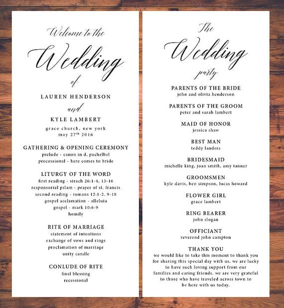 programs for wedding ceremony