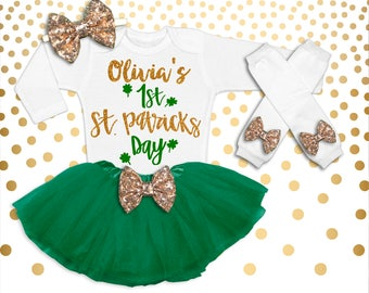 1st St. Patrick's Outfit Baby Girl St Patrick's Day Outfit Baby Girl St. Patricks Day Tutu Outfit 1st St. Patrick's Day Outfit