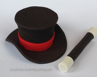 1 edible 3D large TOP HAT & Wand magician magic cookie cupcake cake topper decorations wedding anniversary birthday tuxedo las vegas show