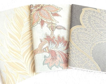 Set of 3 gold taupe patterned sketchbooks,use as journal diary travel notes