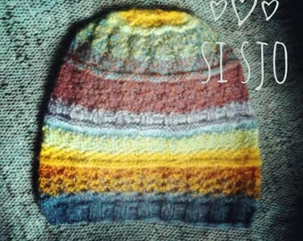 Si Sjolie not-so-traditional-because-extremely-colourful traditional Gansey Fisherman's   pure silk&wool beanie SOLD!