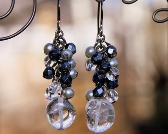 Quartz Crystal Earrings Beaded Dangles Czech Glass Beads Glass Pearls Clear Quartz Cluster Earrings Black & Gray Earrings Unique Boho Style!