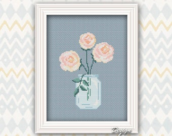 Flower Cross Stitch Pattern Modern Watercolor Peony Pattern Nature Counted Chart Printable PDF Embroidery DIY Mother's Day Birthday Gift