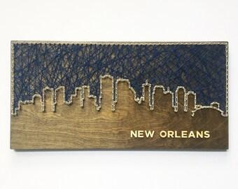New Orleans Skyline String Art, New Orleans Skyline, Louisiana Art, New Orleans Art