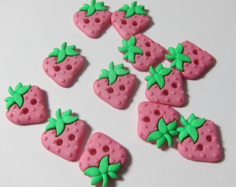 Pink Strawberry 2-Holed Novelty Buttons