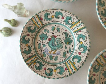 "Vintage 6"" Dessert Plates Set of Four Grazia Deruta Italian Majolica Faience Ware Turquoise Rooster"