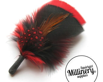 Men's Red & Black Hat Feathers Millinery Mount (Turkey, Hackle and Spotted Guinea Feathers)