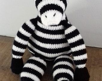 Zebra toy/ knitted soft toy- baby/ toddler/ first birthday/ new baby/ godchild/ grandchild/ baby shower gift. Personalisation available