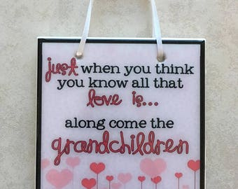 Grandchildren Quote Sign Personalized Gift Grandma, Grandmother Saying Tile Mother's Day Custom
