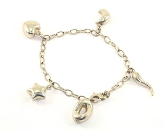 Vintage Luna Signed Moon Star Heart Charms Bracelet Sterling Silver BR 527