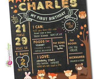Woodland Autumn Fall First Birthday Milestones Chalkboard Poster Printable DIY - Bear, deer, hedgehog, bunny, squirrel, fox (Digital File)