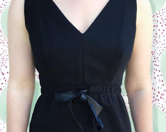 Vintage 1990's Black Mini Dress With Tie Waist Detail