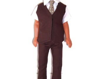 Male Doll Clothes-Brown Vest,Pants, Polka DotTie & White Shirt