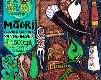 Maori Taonga & Artefacts Clip Art, Instant Digital download