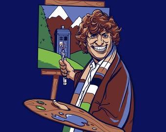Doctor Who Tshirt - Bob Ross - Happy Little Police Box - Tardis - Tom Baker - 4th Doctor - Bob Ross tshirt - Dr Who tshirt