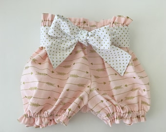 Blush Pink & Gold Arrow Bloomers Ruffle Bloomer Shorts Bubble Summer Shorts Newborn / Baby / Toddler Arrow Shorts