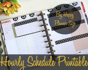Big Happy Planner Hourly Insert, Hourly Schedule, Create 365, MAMBI Insert, Happy Planner Inserts, Big Happy Planner Pages, Printable Insert