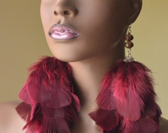 Cranberry Feather Earrings with Crystals