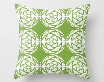 Outdoor Throw Pillow, Rosemary Green and White, outdoor pillow, Home Decor, Patio Pillows, Outdoor space decor, Outdoor Throw Pillows