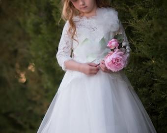 Hi/Low Flower girl dress, pixie dress, wedding dress LS030