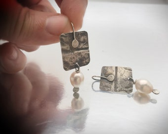 Hammered Organic sterling silver earrings with white freshwater pearl drop