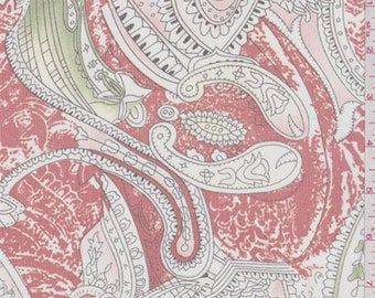 Brick Orange/White Paisley Silk Chiffon, Fabric By The Yard