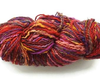 Red rainbow sari silk yarn, art yarn, handspun yarn, blending board sari silk yarn, knitting yarn, weaving yarn, crochet yarn, designer yarn