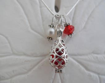 Red Sea Glass Necklace Christmas Locket Beach Glass Jewelry Seaglass Necklace Silver Locket
