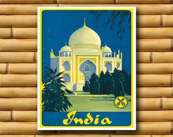 India Travel Poster Asian Art Japanese Wall Print Decor (AJT22)
