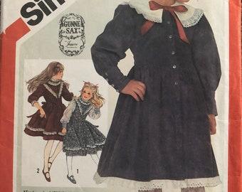 Simplicty 6092 Girls Gunne Sax Dress Sewing Pattern Complete Size 4