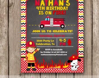 Fireman Invitation, Fire truck invitation, Firefighter Invitation, Firetruck Invitation, Chalkboard Firetruck Invitation, Birthday