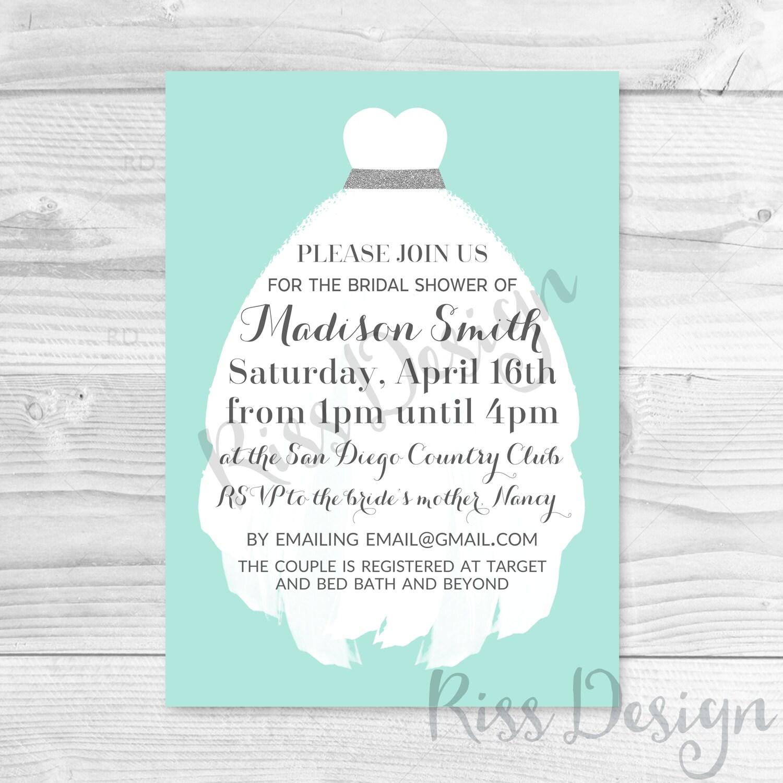 Brautdusche Einladung mit Brautkleid druckbare / Hochzeit